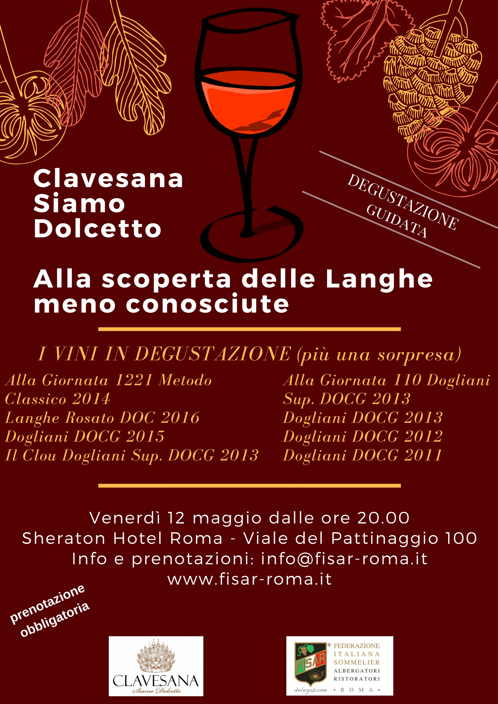 Clavesana Siamo Dolcetto, Langhe protagoniste con Fisar Roma (degustazione)